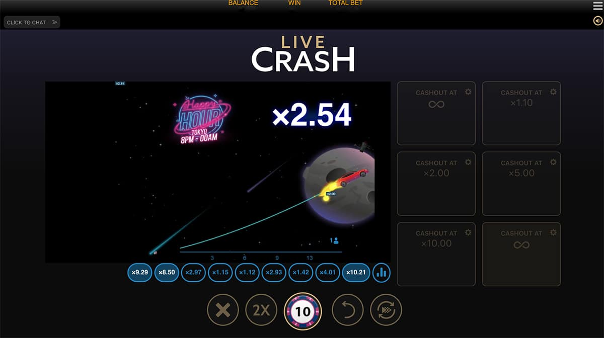 Live Crash Casino peli